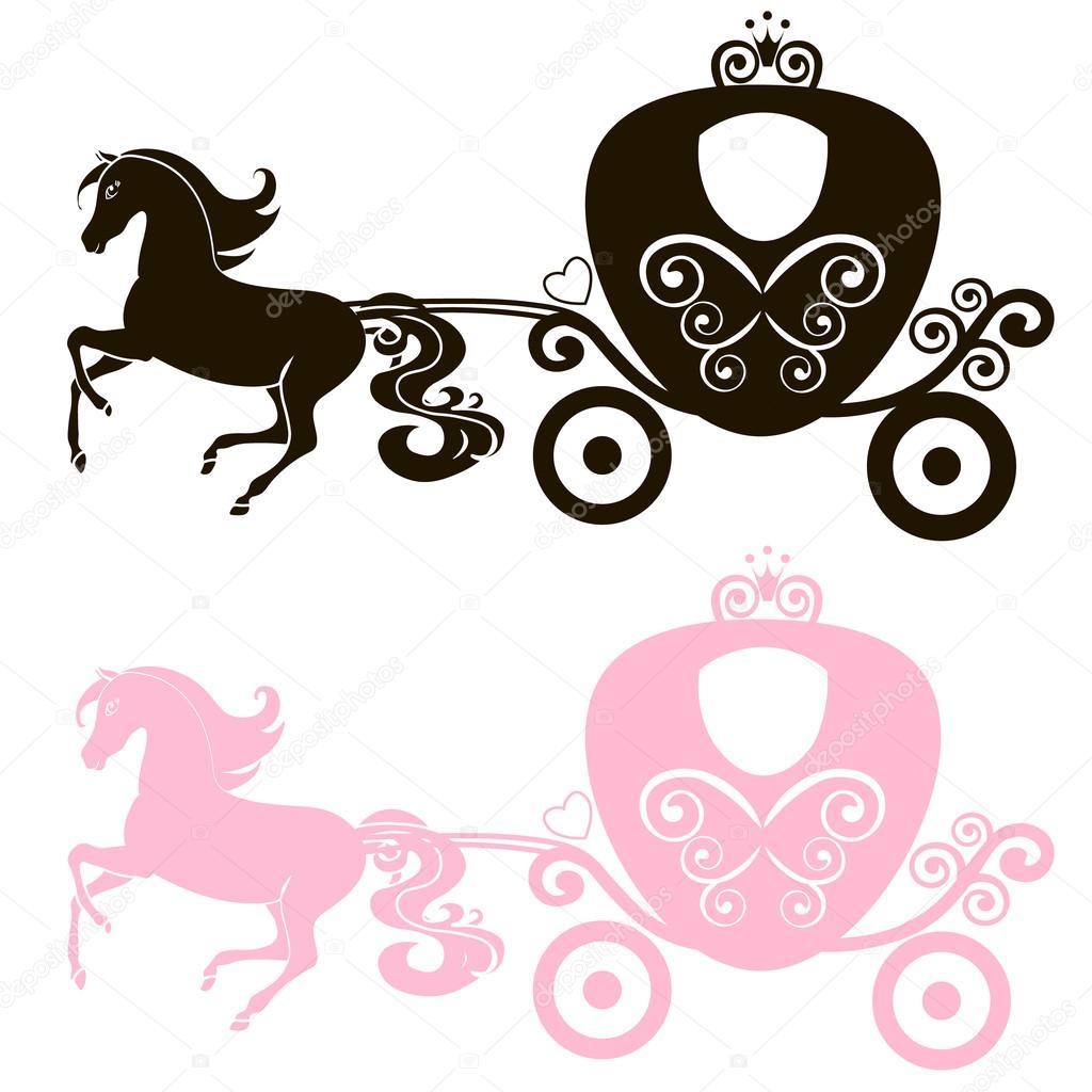 fabelhafte royal rosa prinzessin kutsche pferd vektor