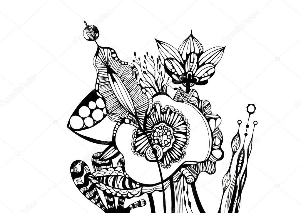 Bouquet Fleurs Dessin Noir Et Blanc