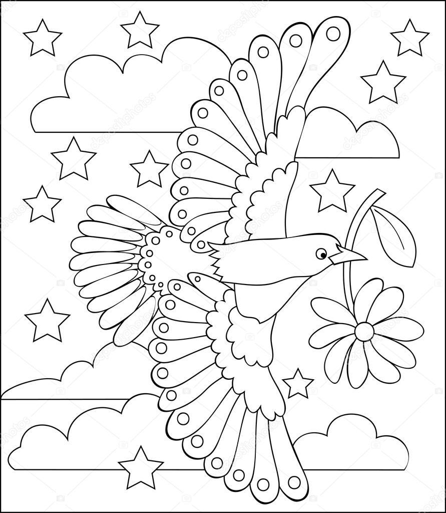 pagina met zwart wit afbeelding van een vliegende vogel om in te kleuren stockvector. Black Bedroom Furniture Sets. Home Design Ideas