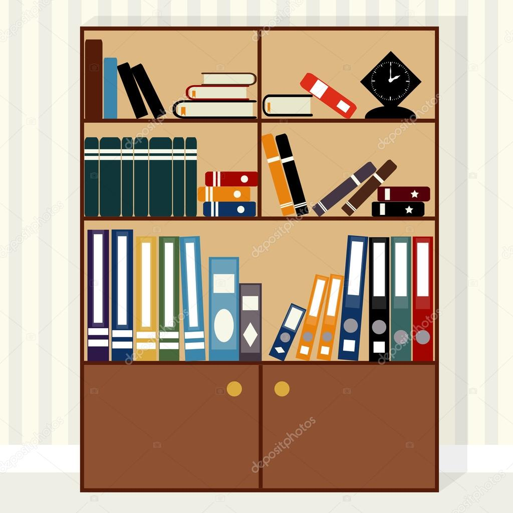 Libreria design piatto vettoriali stock z0504574832 for Design piatto