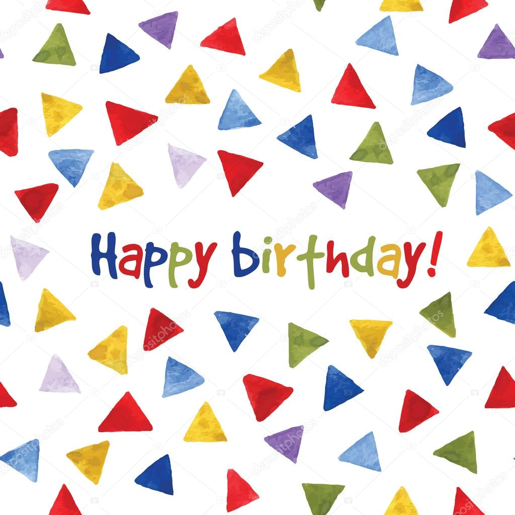 watercolor multicolor triangles pattern. birthday card in vector, Birthday card