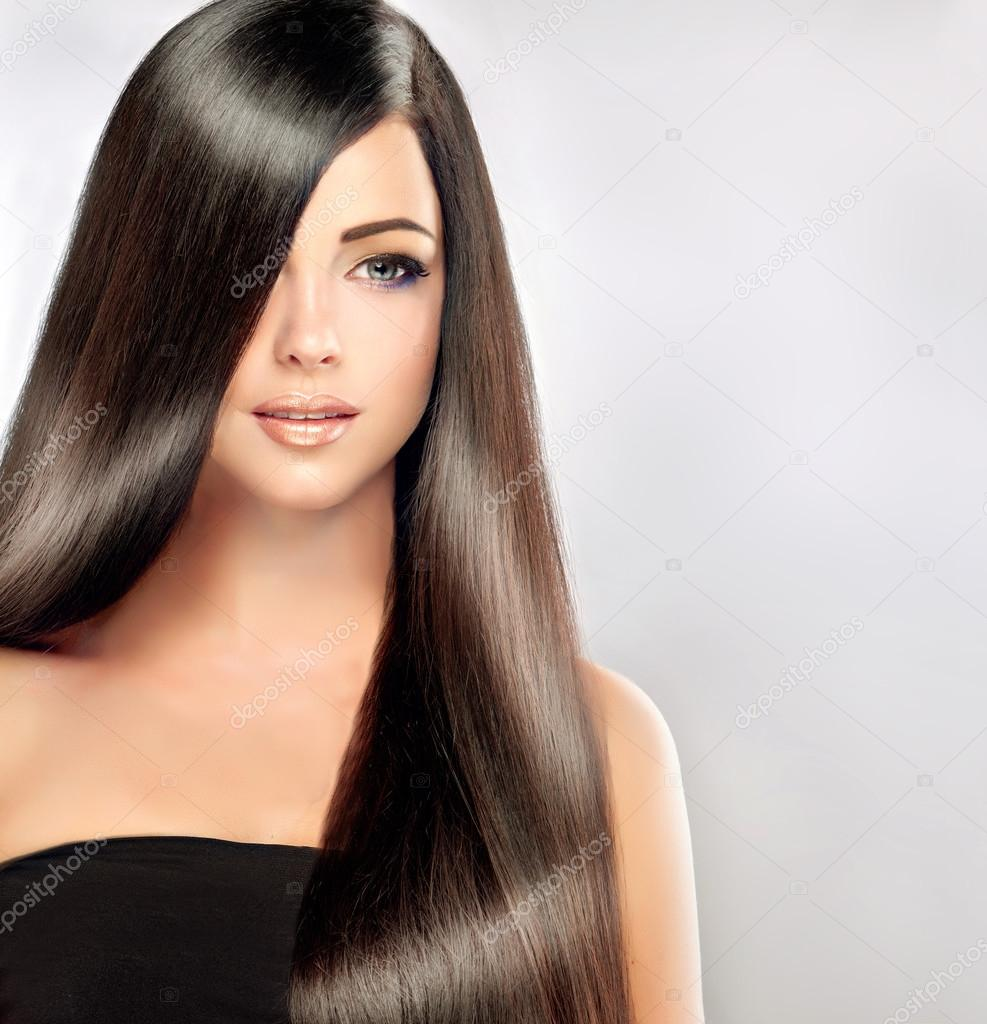 Peachy Beautiful Woman With Long Straight Hair Stock Photo Hairstyles For Women Draintrainus