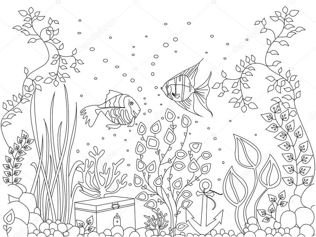 Coloriage du fond marin poisson vector illustration image vectorielle - Dessin fond marin ...