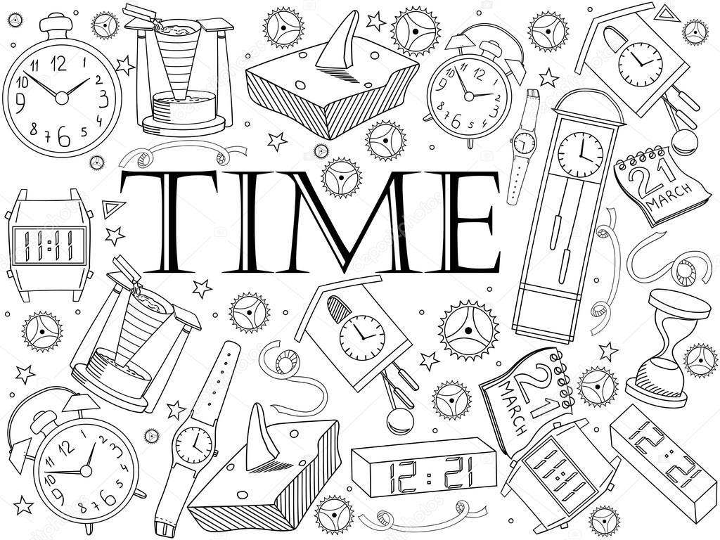 Tiempo Para Colorear Ilustración Vectorial Del Libro