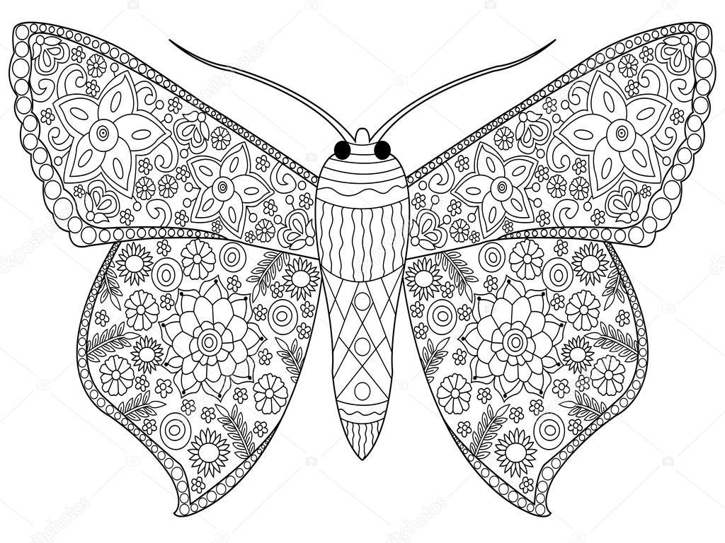 Vlinder Kleurplaat Vector Voor Volwassenen Stockvector