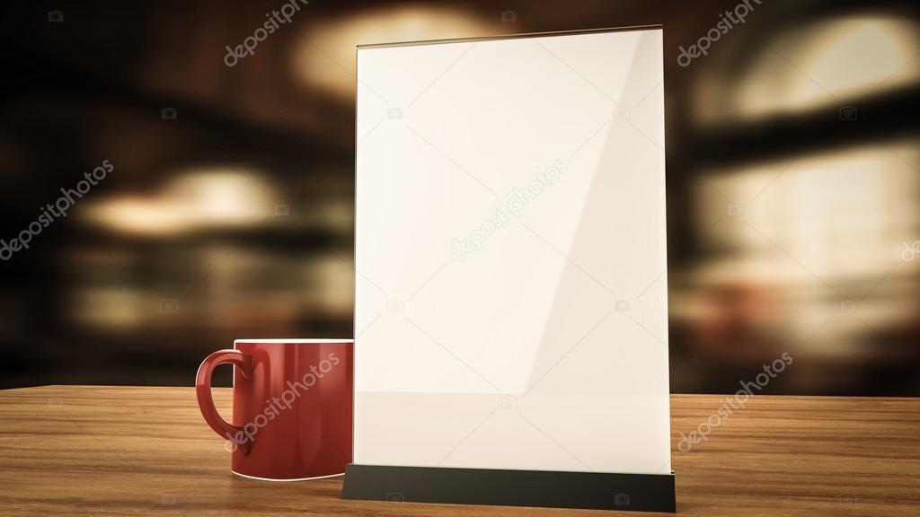 컵 커피 흐리게 배경 렌더링으로 나무에 소책자 흰색 시트 종이 ...