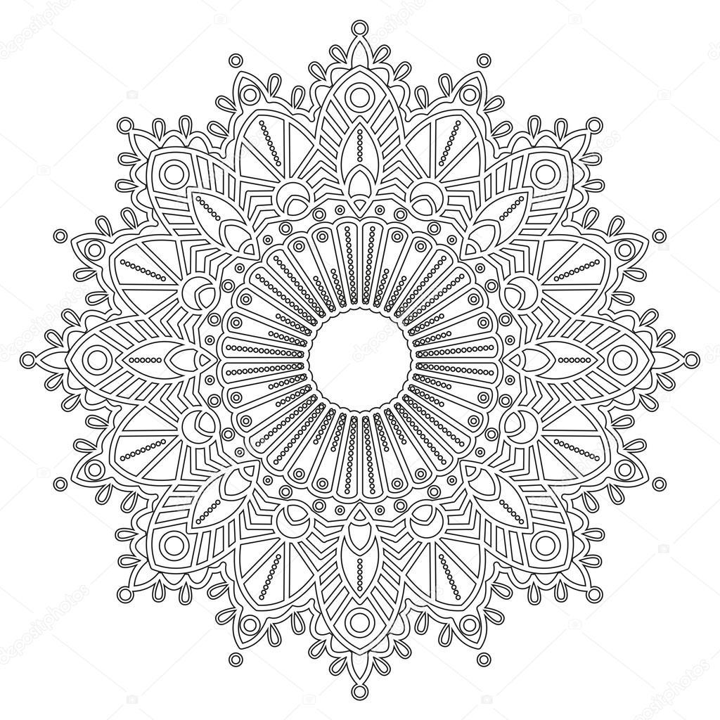 Kleurplaat Met Mandala Stockvector 102921196