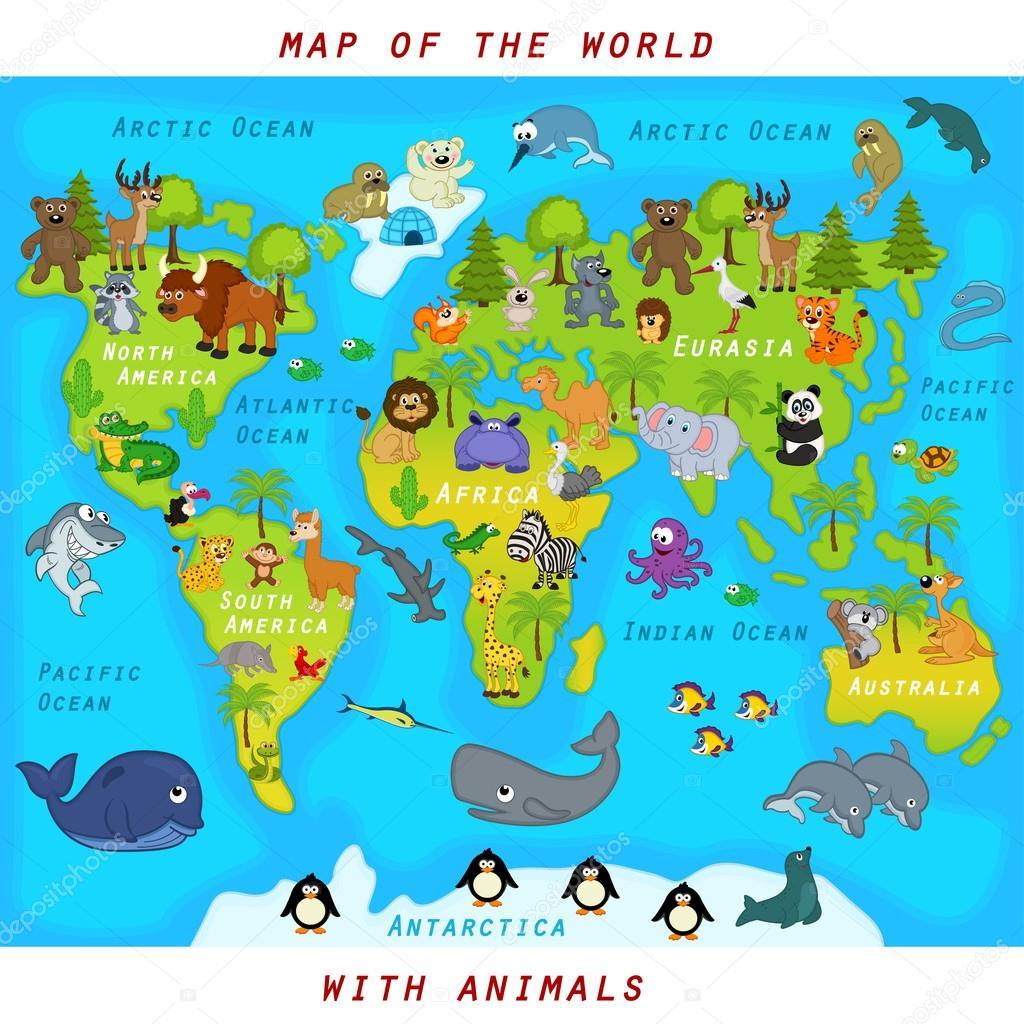 与动物-矢量图,eps 世界地图— vector by nkiseleva1.gmail.com