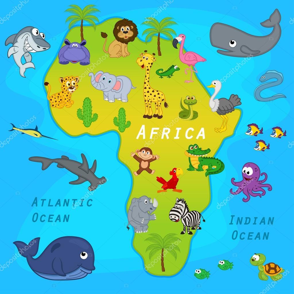 动物-矢量图,eps 的非洲地图– 图库插图