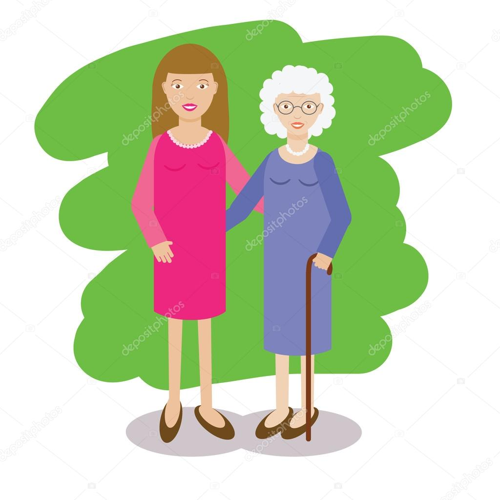 Gmail old theme - Woman And Gray Haired Old Wpman Vector Illustration Grand Mother Family Theme
