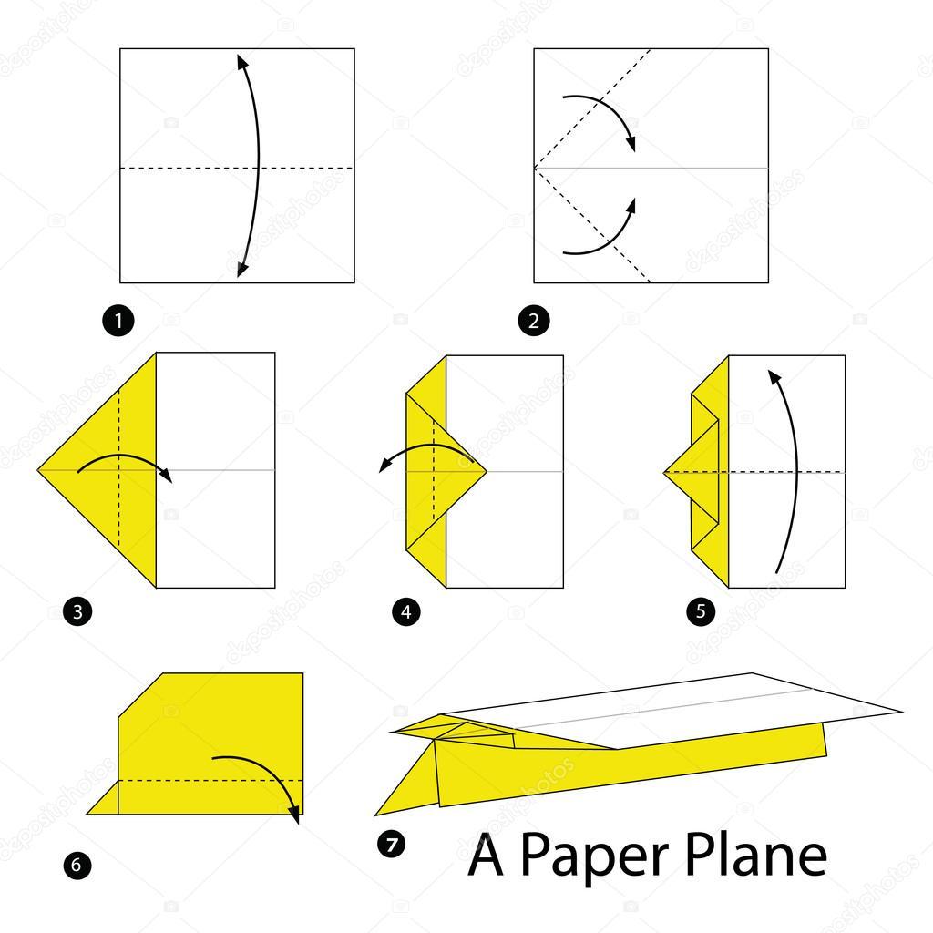 instru es passo a passo como fazer origami avi o de papel. Black Bedroom Furniture Sets. Home Design Ideas