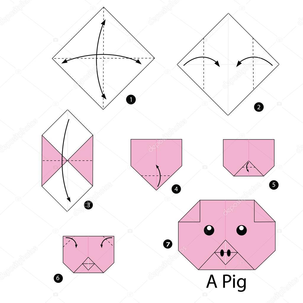 Instructions tape par tape comment faire origami a cochon image vectoriel - Origami comment faire ...