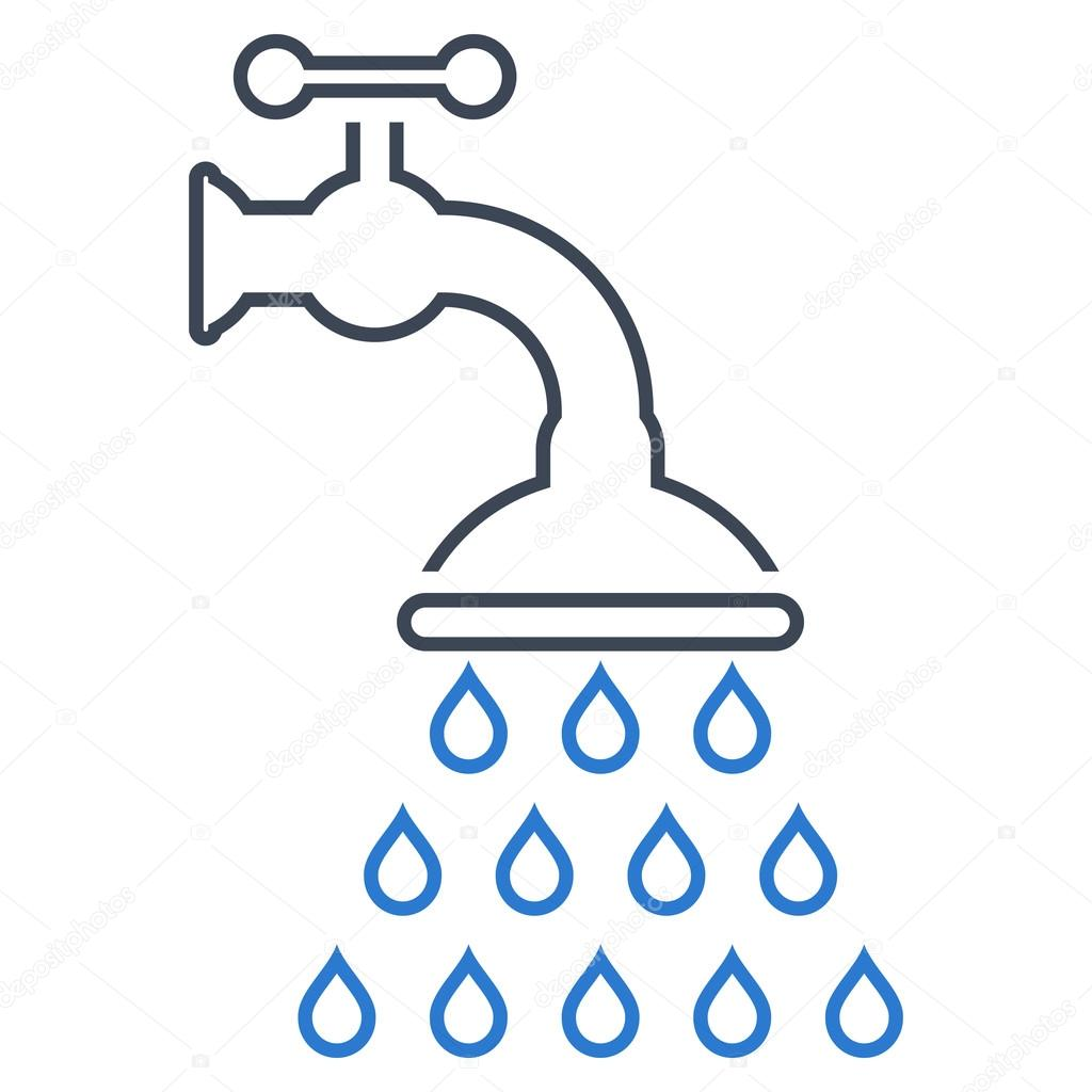 Shower Tap Outline Vector Icon — Stock Vector ...