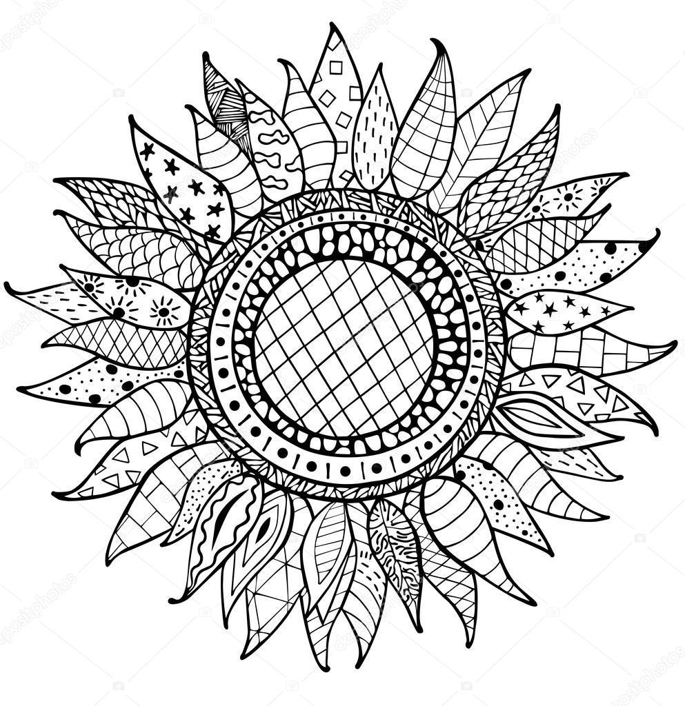 Mano dibujada zentangle ornamento de girasoles para - Coloriage tournesol ...