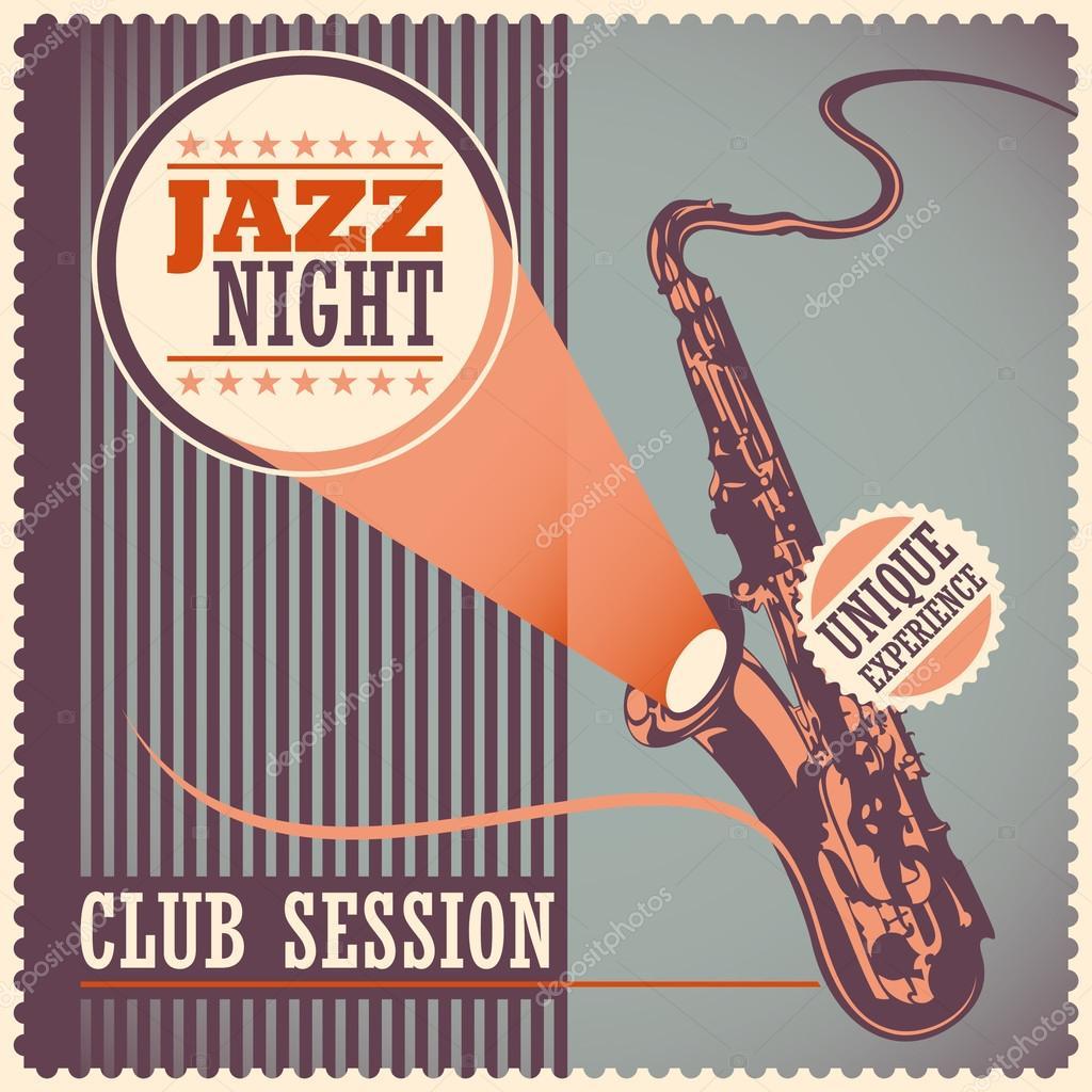 Vintage jazz poster. — Stock Vector © Rakavaja #101944088