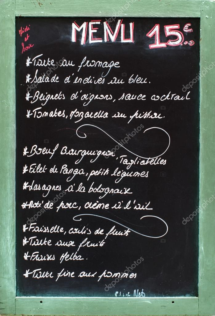 Menu ristorante francese foto stock hzparisien gmail for Menu tipico frances