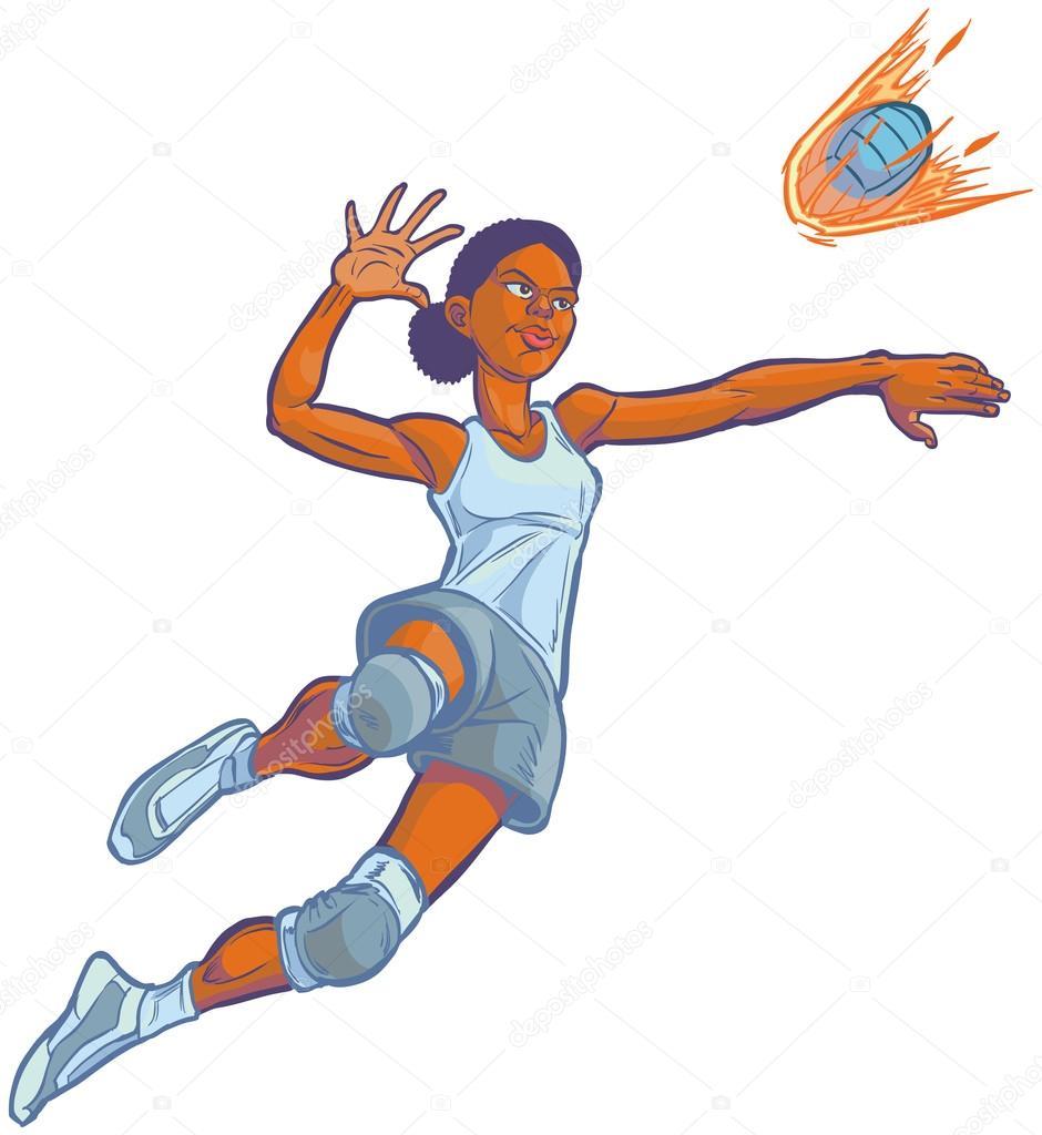 Girl Spiking Flaming Volleyball Vector Cartoon Illustration ...