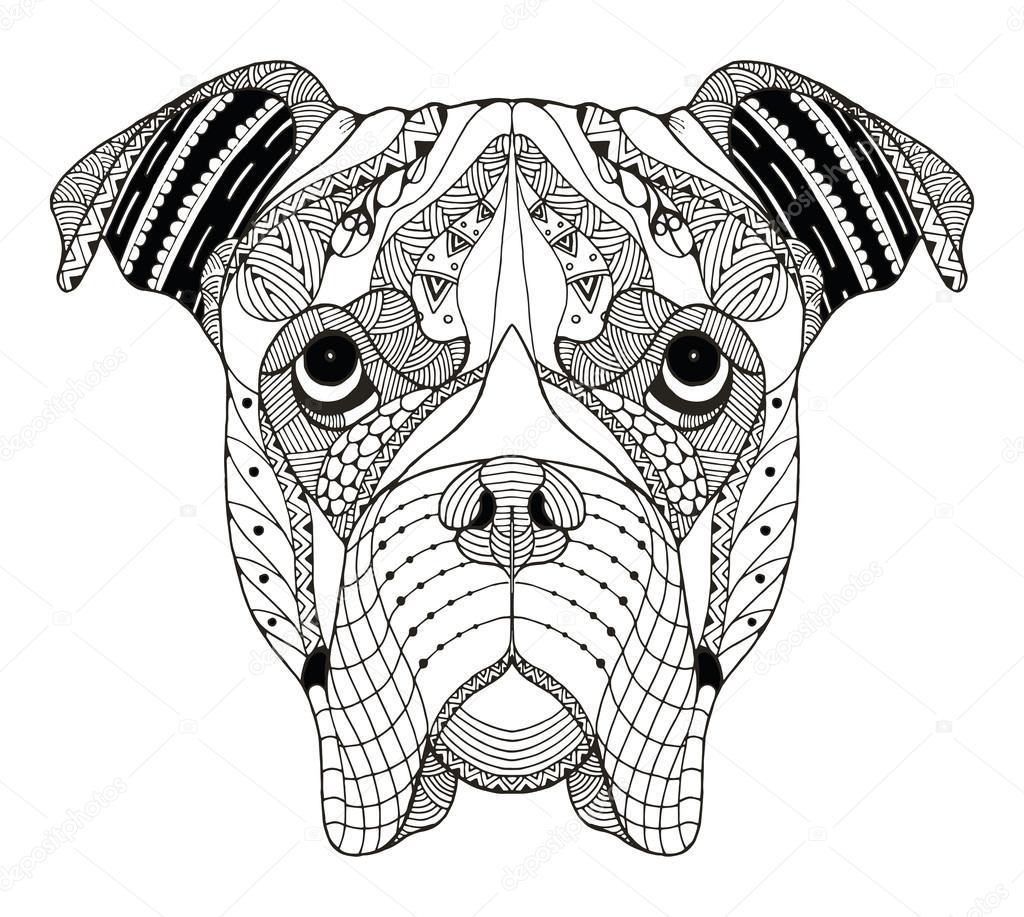 Stu00e1hnout - Boxer Pes hlavu zentangle stylizovanu00e9, vektor, ilustrace ...