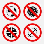 禁止标志运动类游戏,没玩,打篮球,踢足球 - 图库