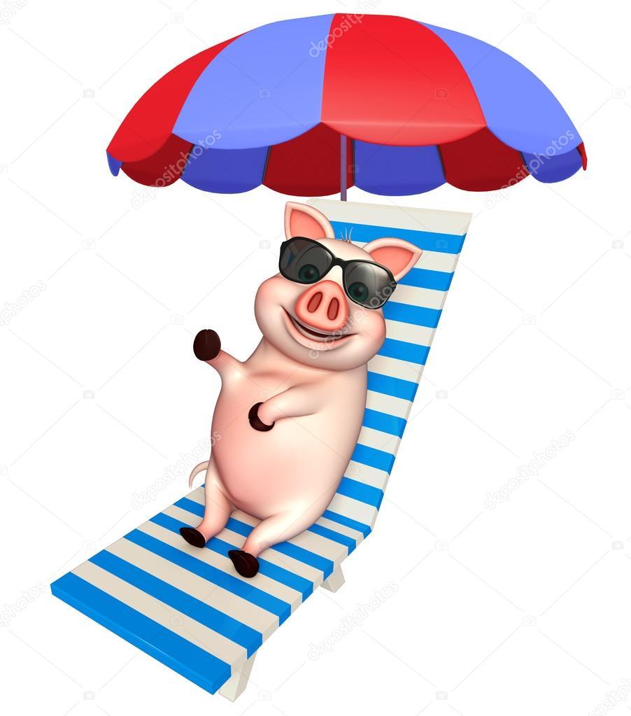 Personnage de dessin anim mignon cochon avec chaise - Dessin cochon mignon ...