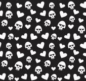 Skulls, and hearts on black background - seamless pattern. — Stock ...