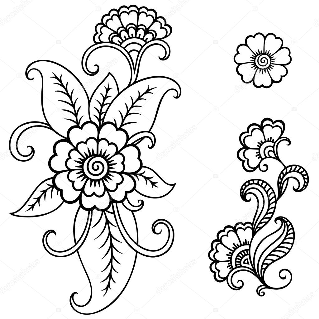 Henna Tattoo Flower TemplateMehndi  Stock Vector