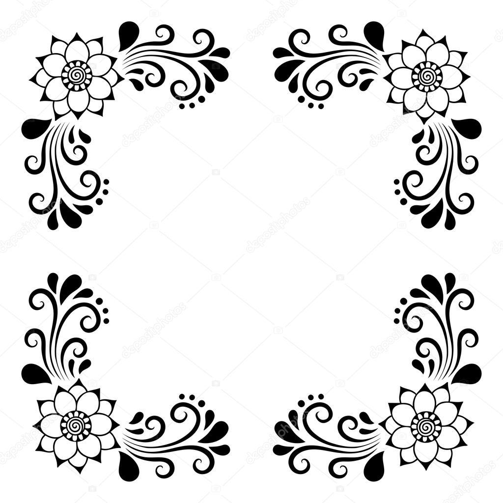 Cadre de tuile décorative dessin main. Ornement floral