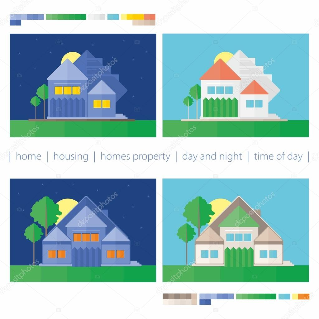 Gmail themes night - This Vector Illustration On The Theme Of Property And Time Of Day Vector By Fendyworkmail Gmail Com