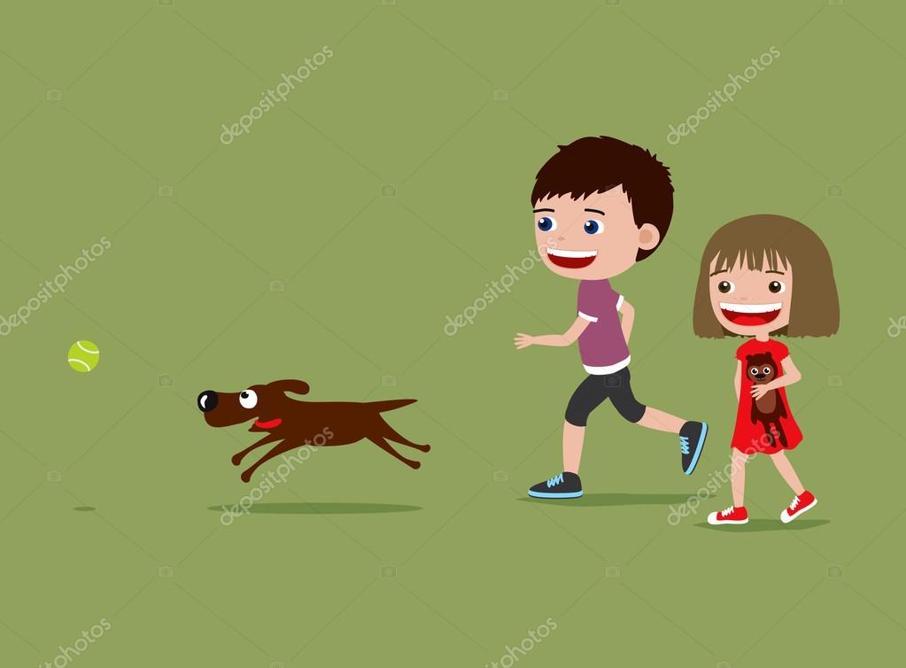 Niños Caminando Y Jugando Con Un Perro. Ilustración De
