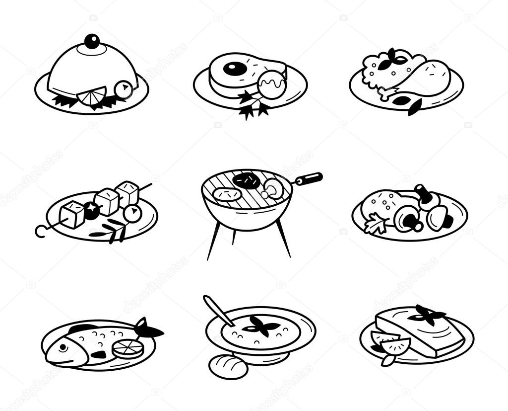 icons in flat design food restaurants and cafes vector. Black Bedroom Furniture Sets. Home Design Ideas