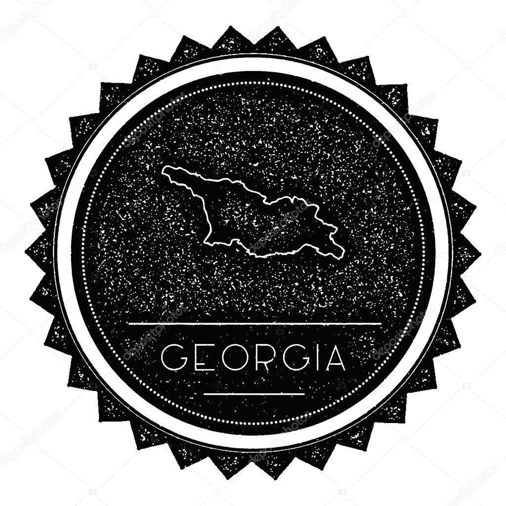 Georgia Map Label With Retro Vintage Styled Design Stock Vector - Georgia map label