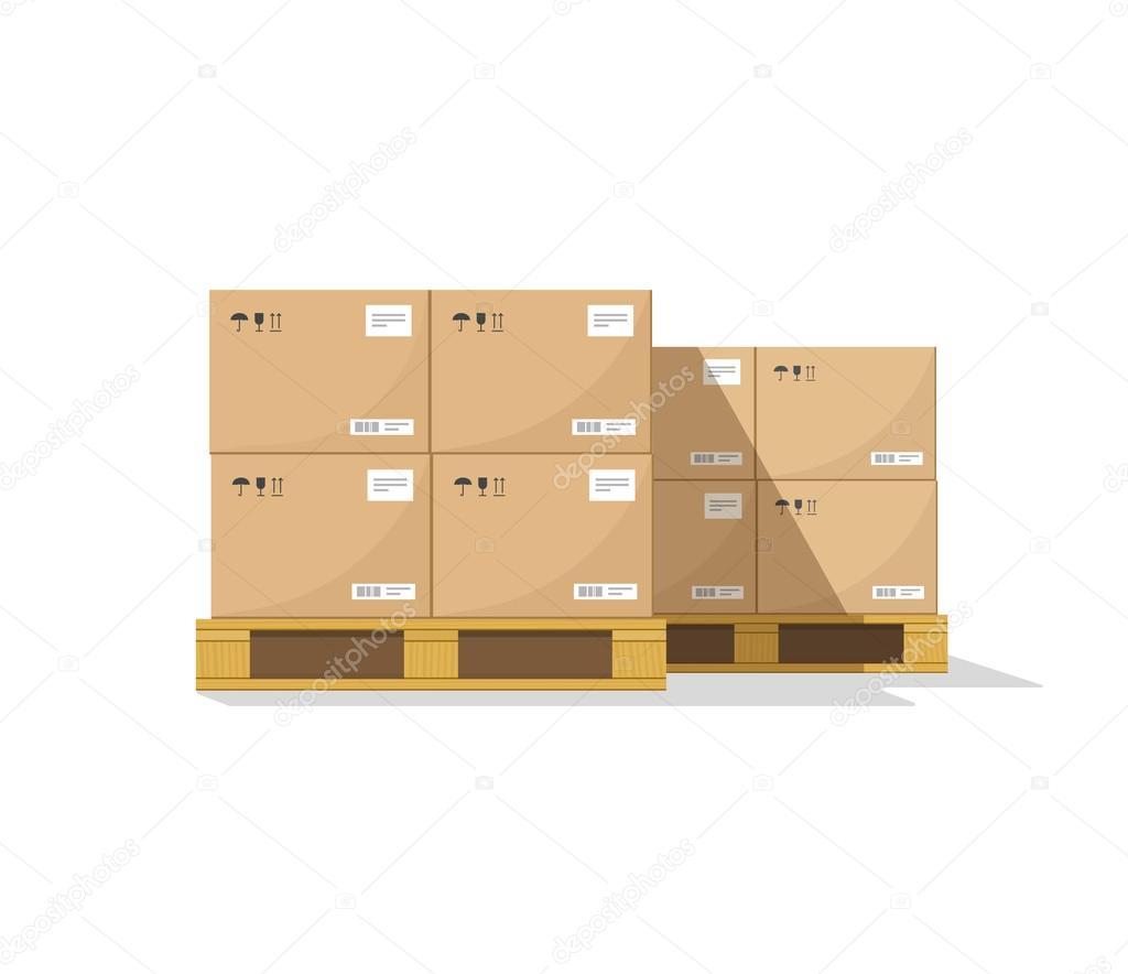 vetorial de paletes de madeira com sombra caixas de papelão de  #AB7E20 1024x884