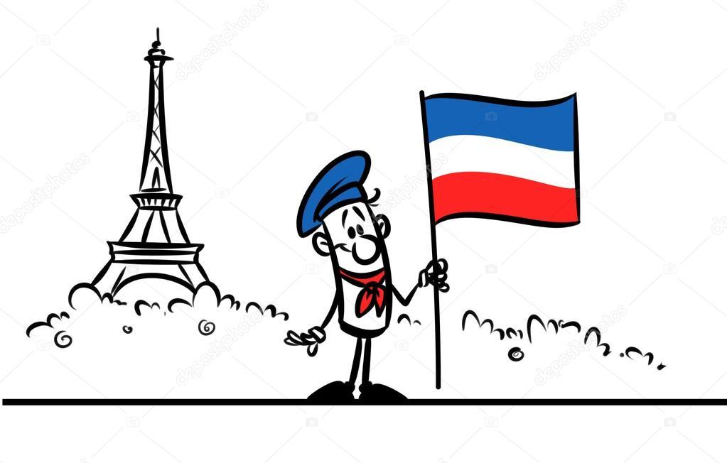 Torre Eiffel Dibujo Animado A Color: Dibujos Animados De Bandera De Francia París, Torre Eiffel