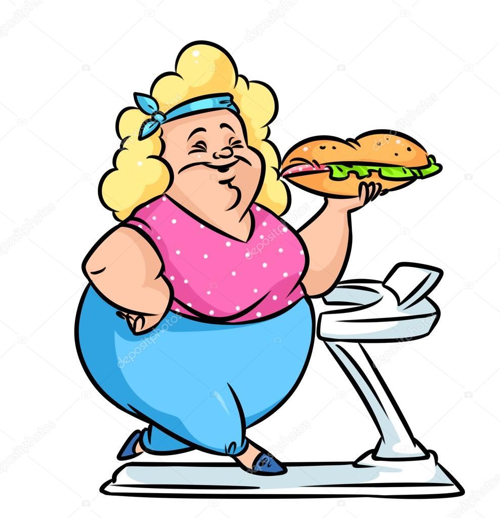 Girl Eating Lots Of Food Sketch