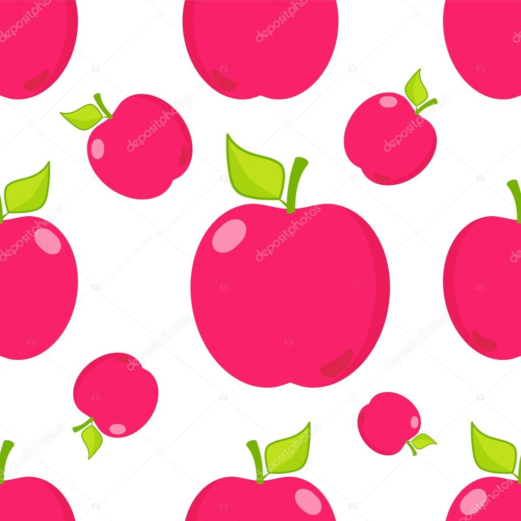 Seamless vector pattern. Cute abstract apples with branch ...
