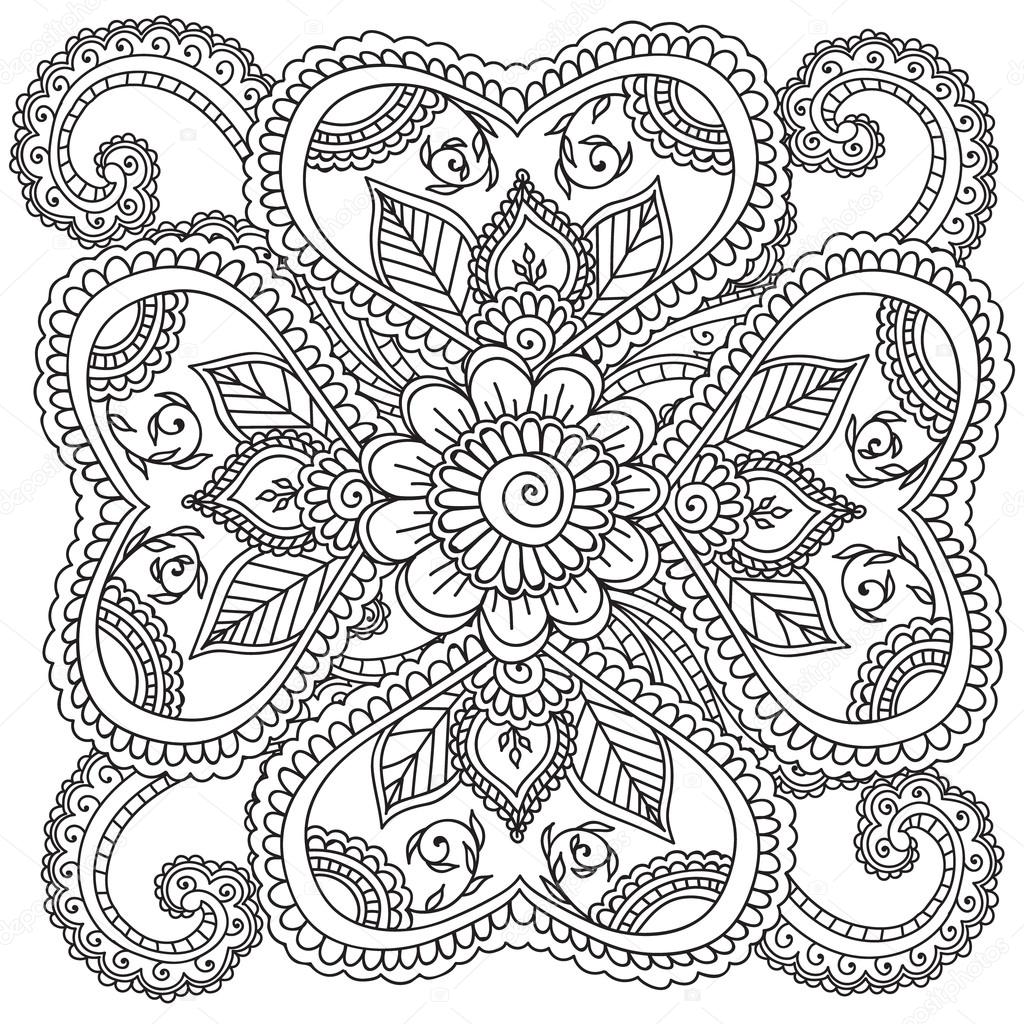 Henna flower coloring pages for Henna coloring pages