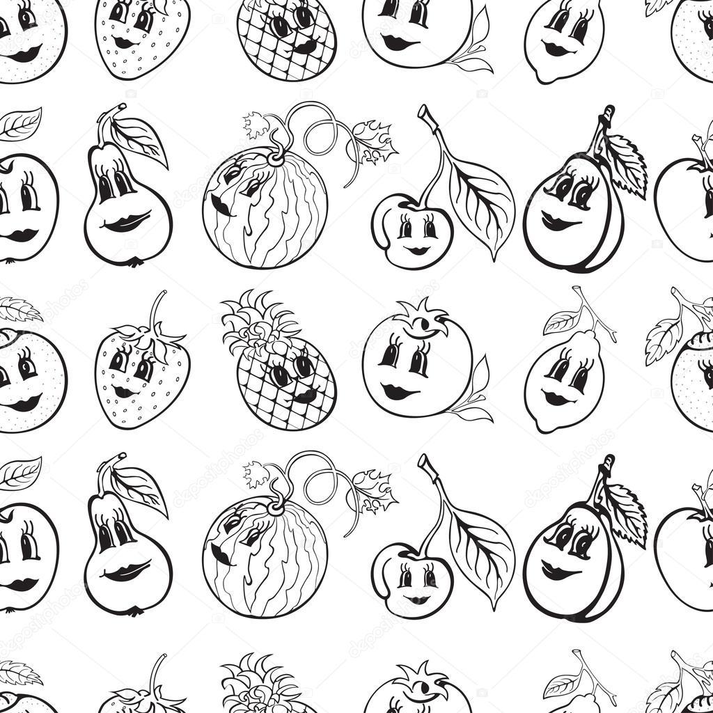 Dessin Anim Noir Et Blanc: Série De Dessin Animé Drôle De Fruit Noir Et Blanc