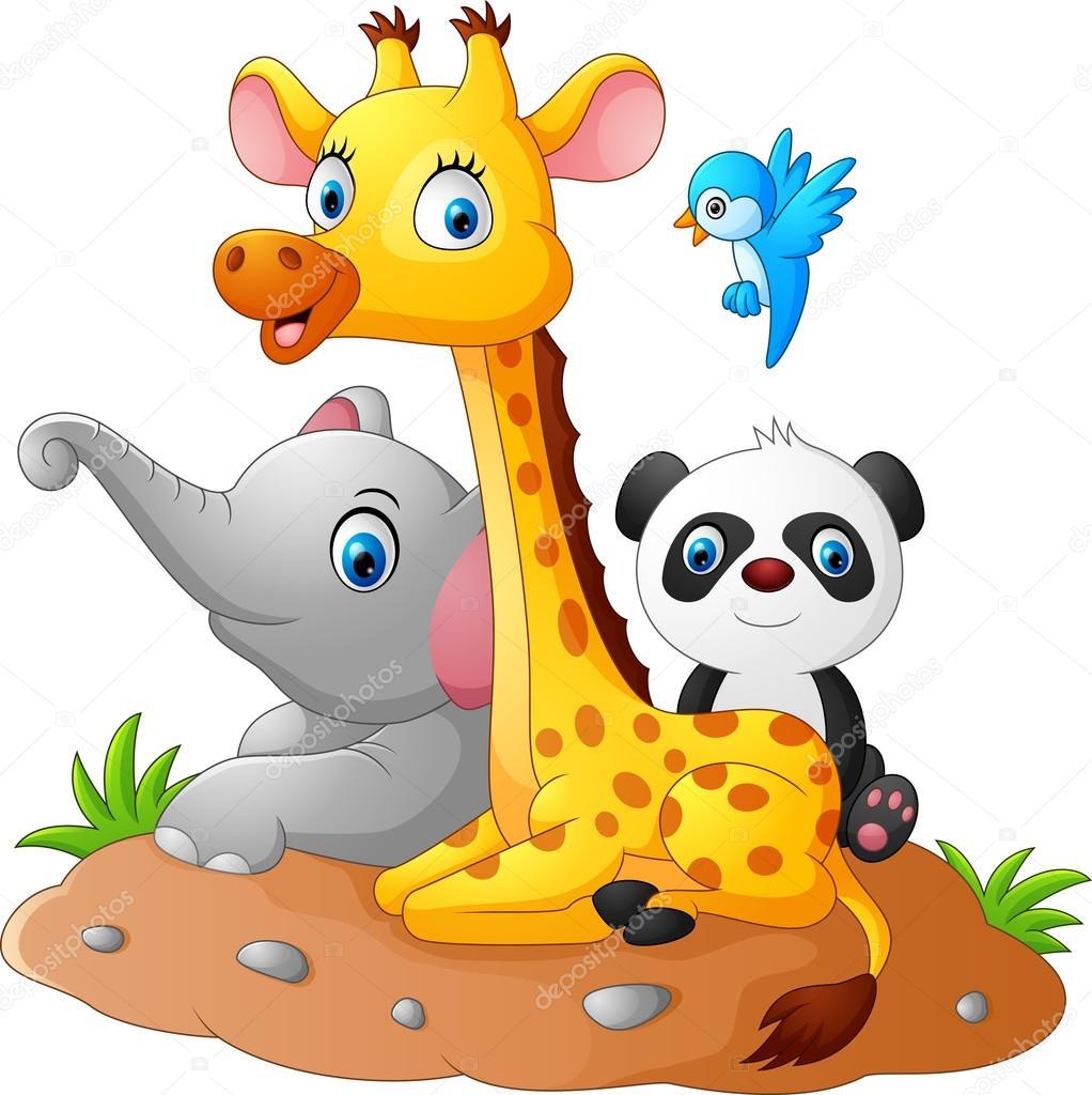 Animales De Dibujos Animados Feliz Safari Vector De