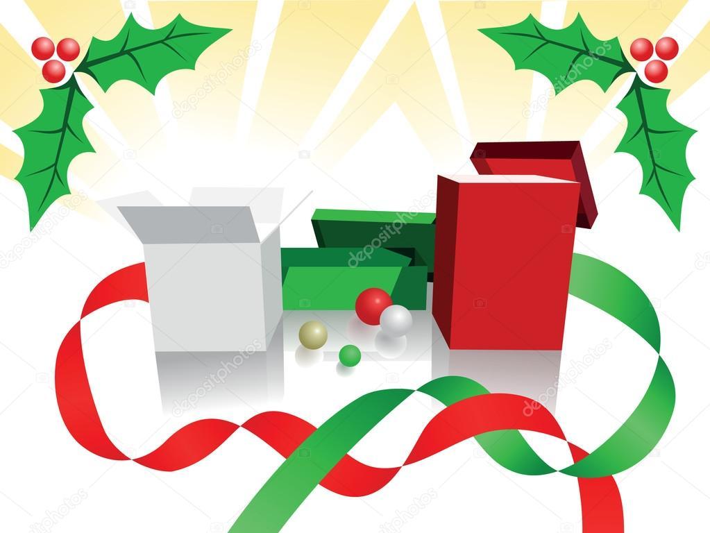 fondo de navidad de casillas verdes blanco y rojos envuelto con cintas remolino frutas