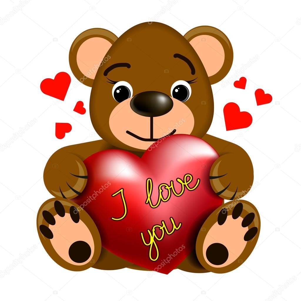 lustige teddy bär mit herz — stockvektor © andrcat 109491144