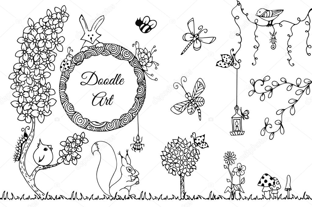 Vectorillustratie Zen Wirwar Wilde Natuur Doodle Bloemen