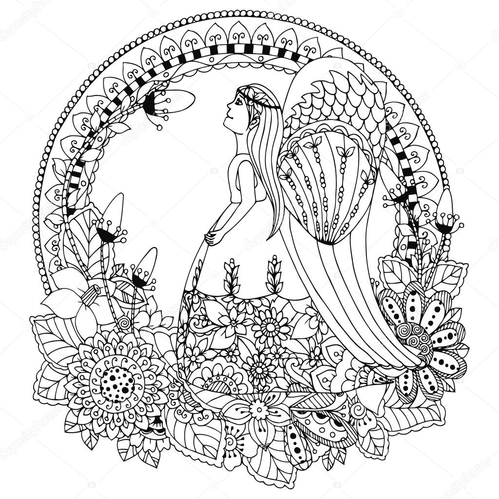 Zen coloring flowers - Vector Illustration Zen Tangle Angel Girl With Flowers Doodle Drawing Coloring Book Anti Stress