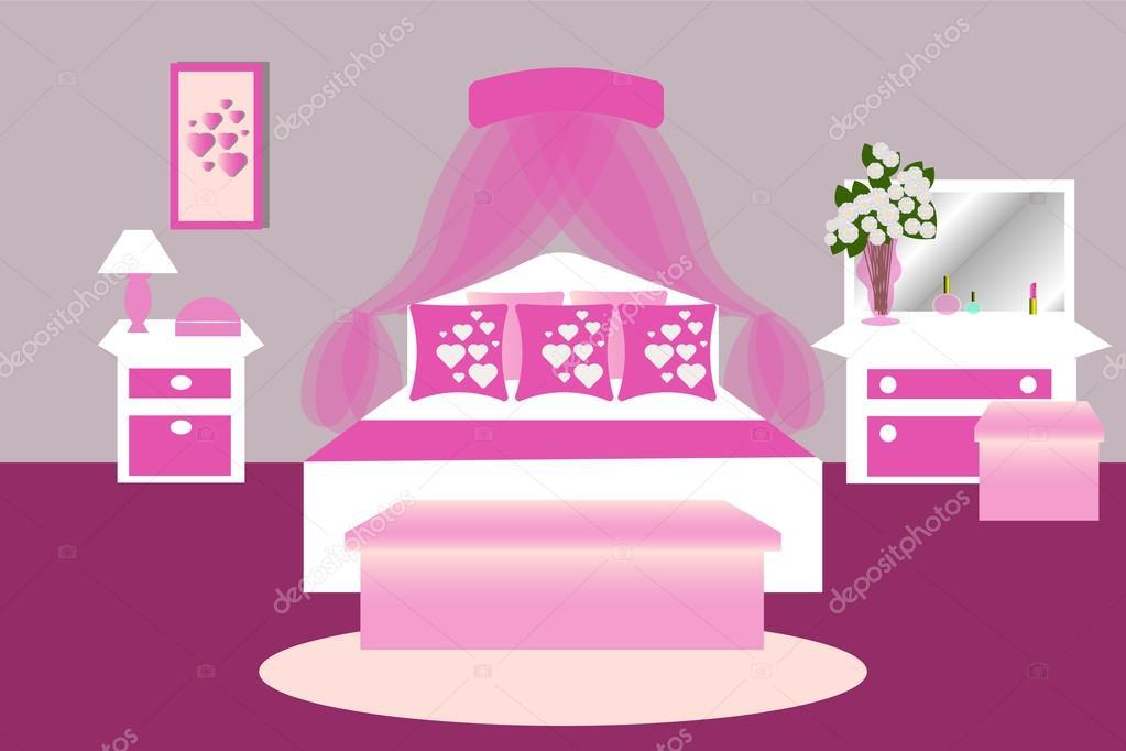 Das Innere des Schlafzimmers. Zimmer in rosa. Schlafzimmer-Möbel ...