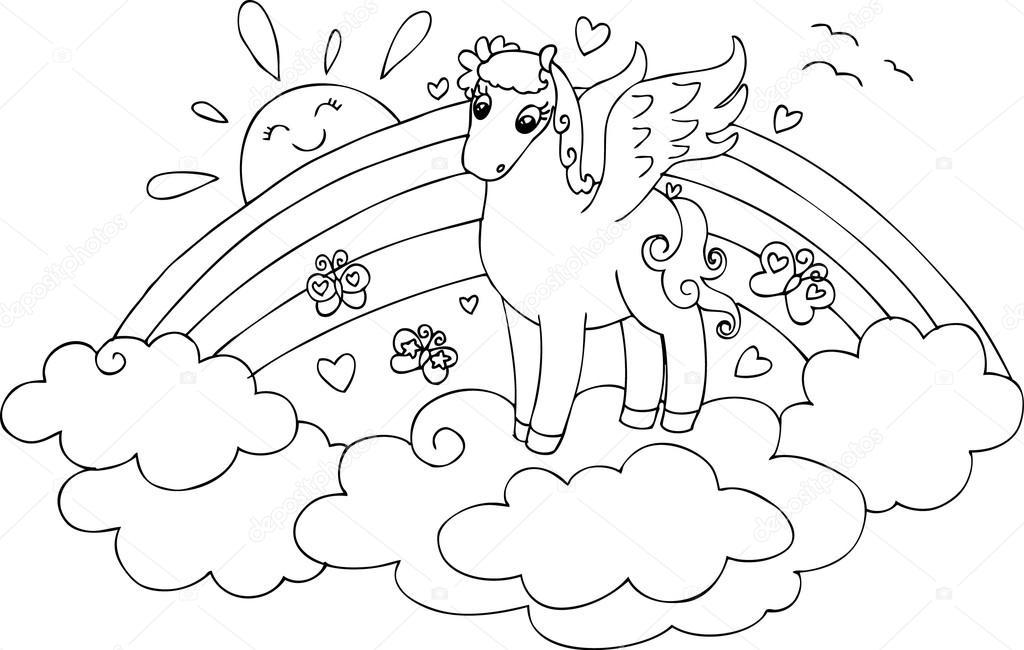 F rgs tta pegasus i himlen med rainbow stock vektor for Arcobaleno da colorare per bambini