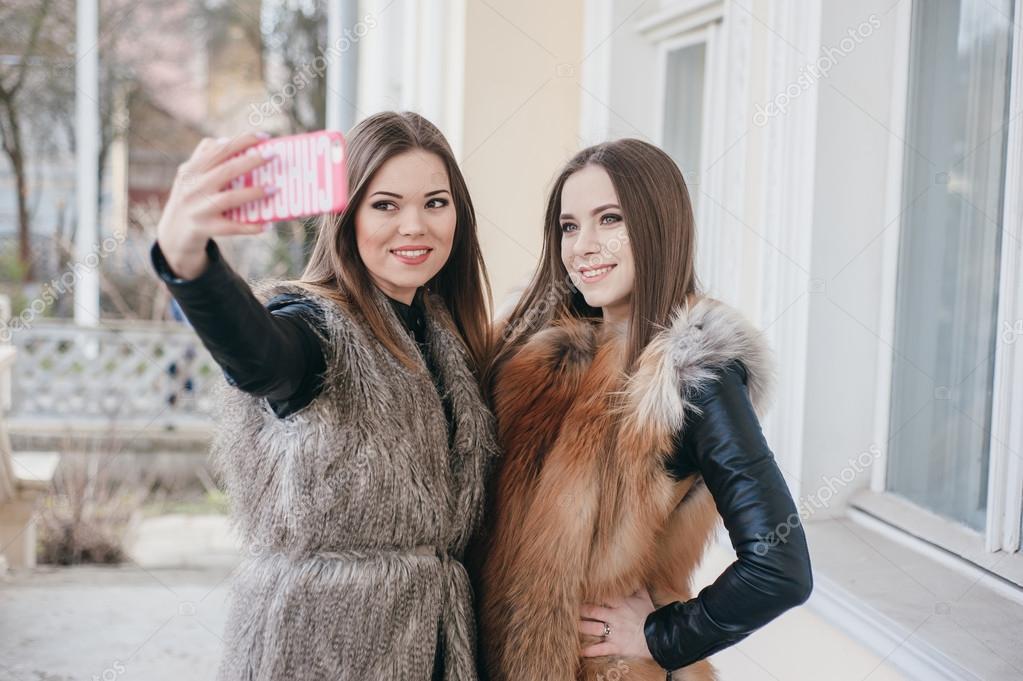 Young girls fur coat