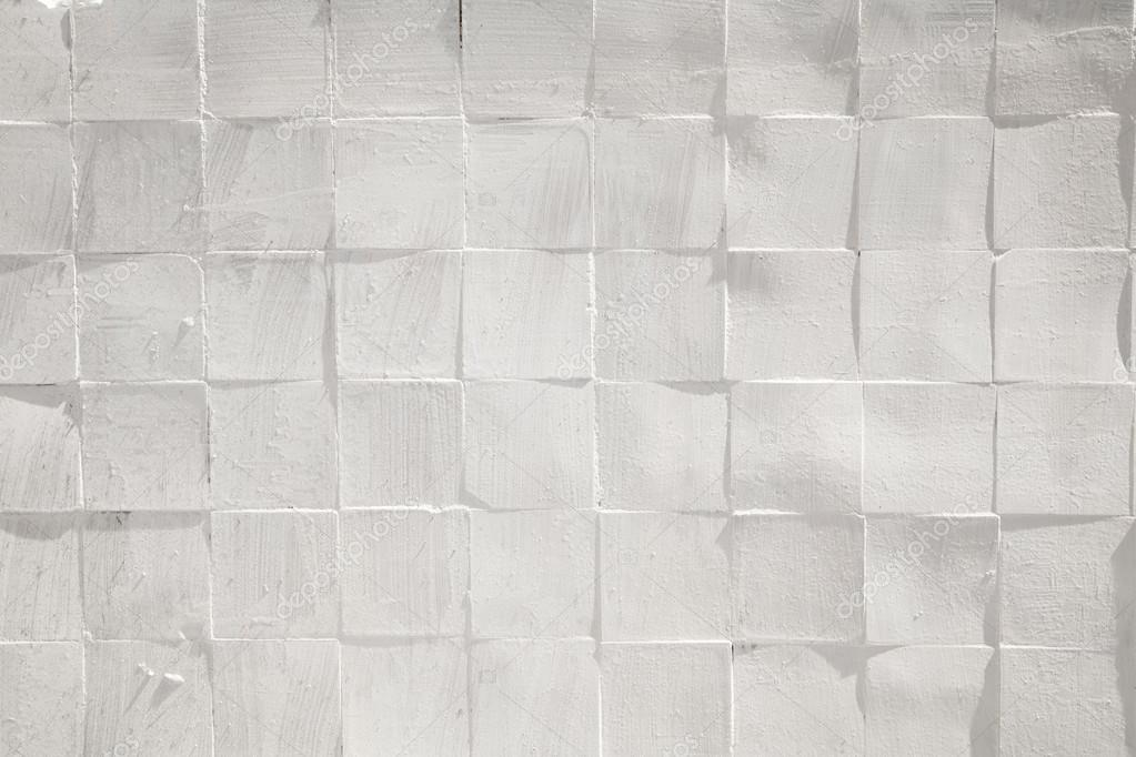 Square Tiles Ceramic Painted White Rough Textured Wall