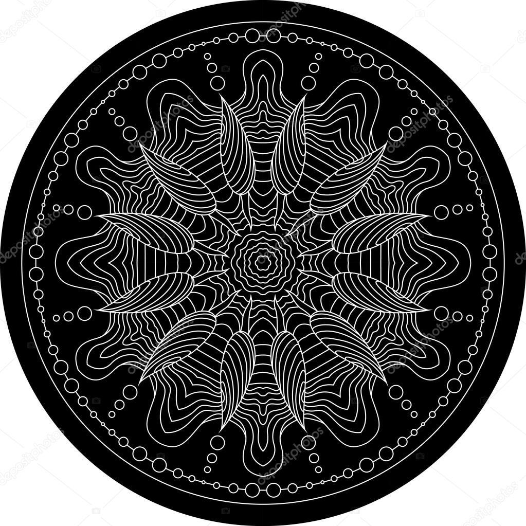 Black mandala for coloring. Mandala vector coloring page