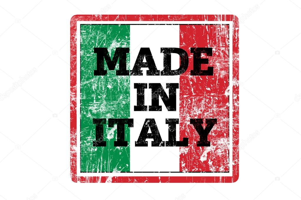 MADE IN ITALY word written on red rubber stamp and flag ...