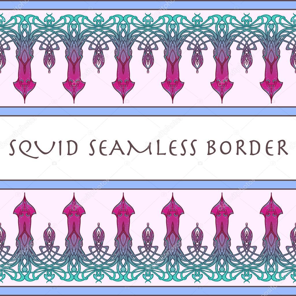 Frontera sin costuras de calamar. Dibujo pintado — Archivo Imágenes ...
