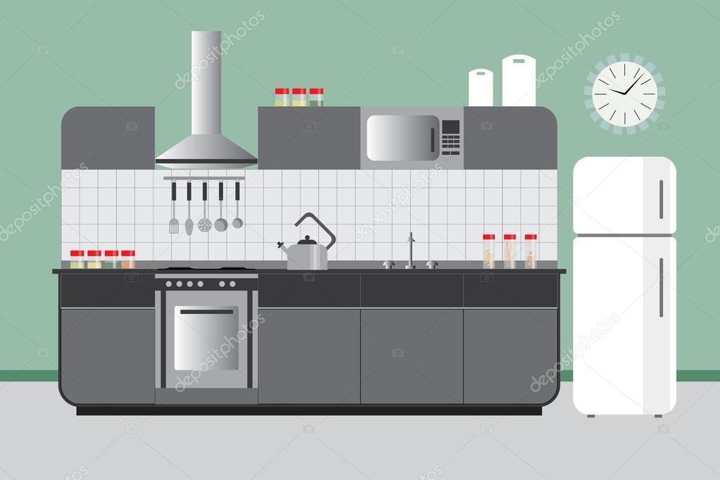 부엌 캐비닛 냉장고 후드 Microvawe로 상승입니다. 녹색 회색에서 ...